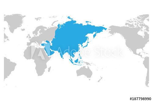 500x334 Asia Continent Blue Marked In Grey Silhouette Of World Map