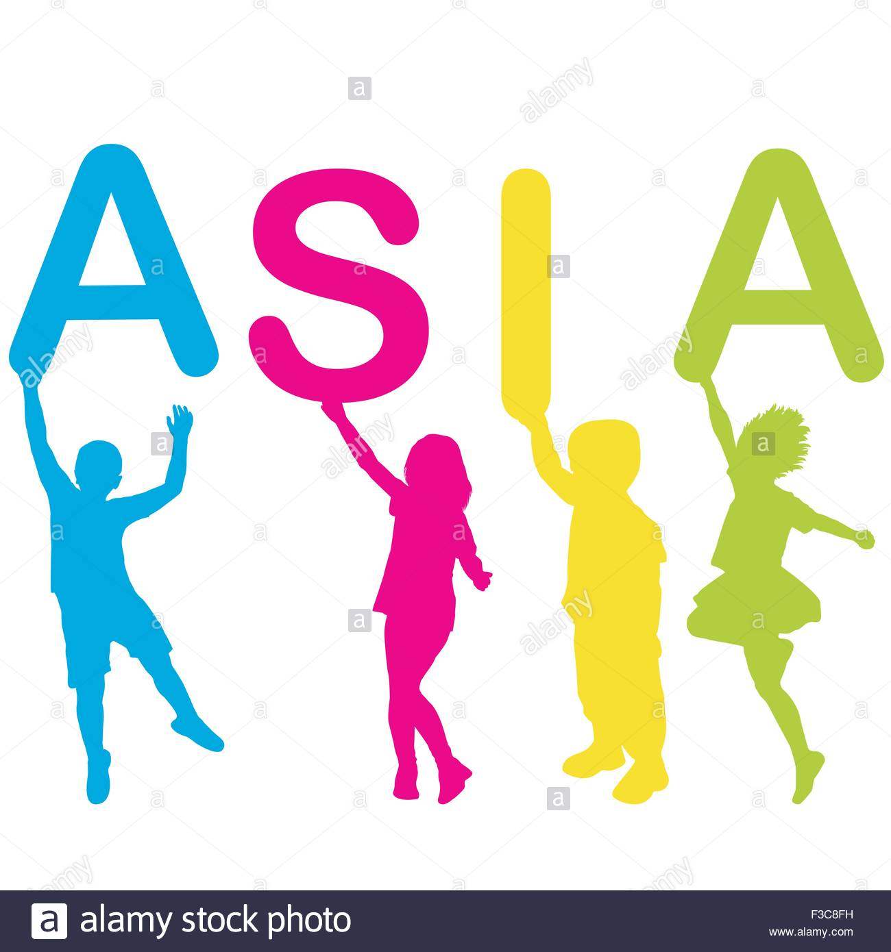 1300x1390 Children Silhouettes Holding Letters Building The Word Asia Stock