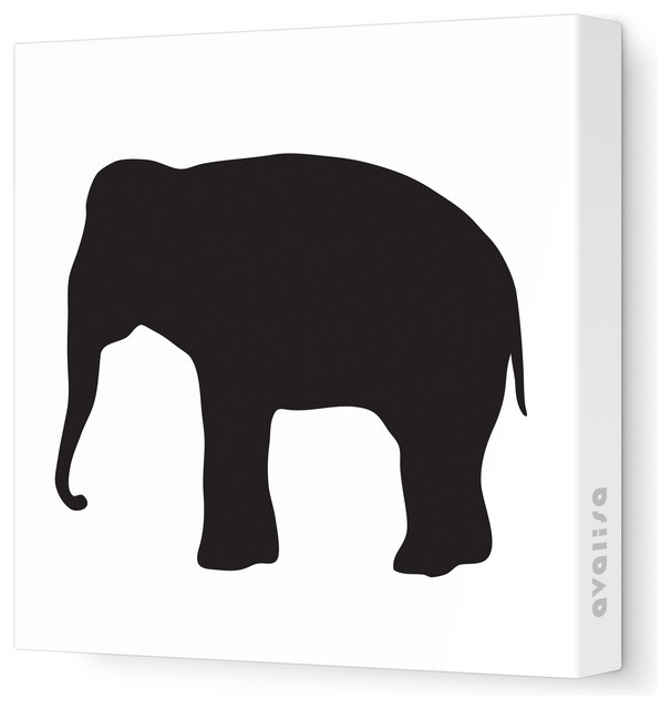 606x640 Elephant Silhouette Stretched Wall Art