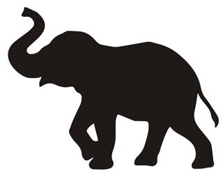 320x253 Elephant Silhouette V7 Decal Sticker