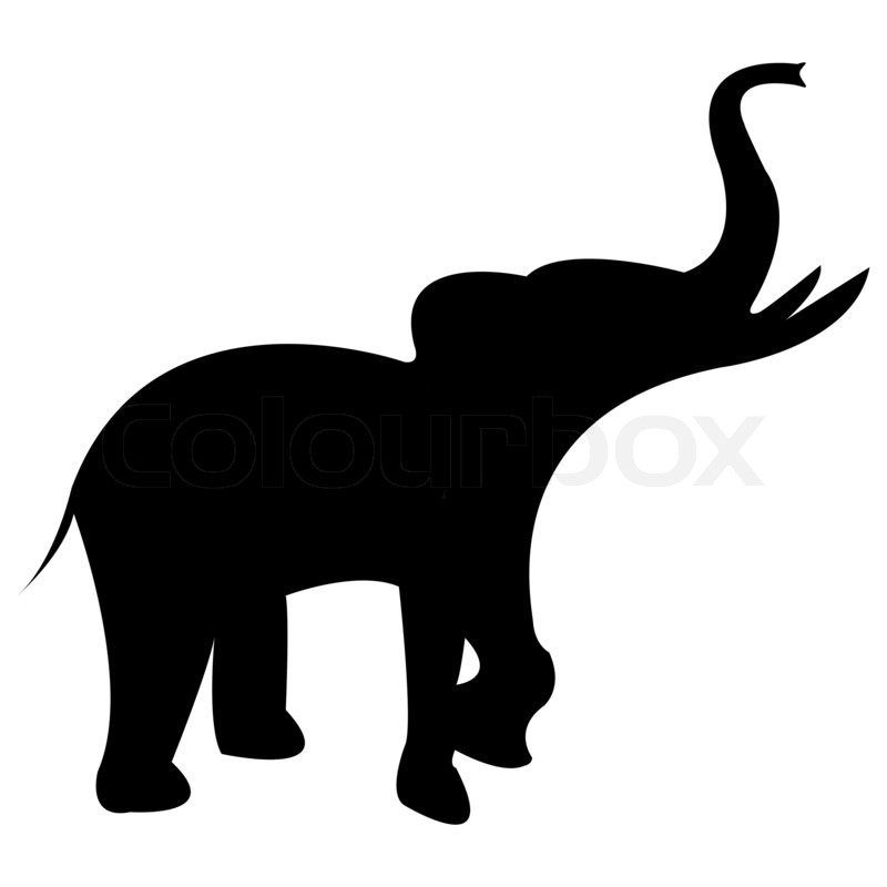 800x800 Elephant Black Silhouette Isolated On White Background, Abstract
