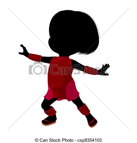 450x470 Little Asian Girl Silhouette Illustration. Little Asian Girl