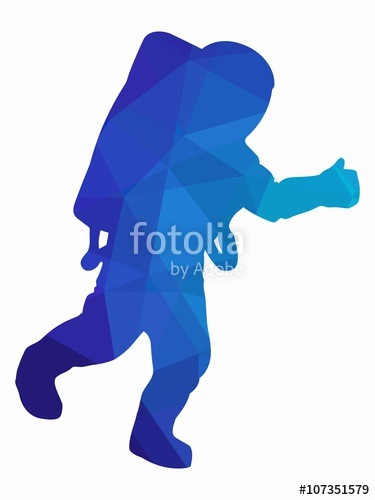 375x500 Silhouette Of Astronaut, Vector Drawing Stock Image And Royalty