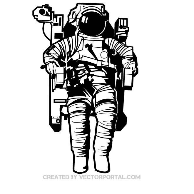 660x660 Astronaut In The Space Vector Drawing. Technology Vector