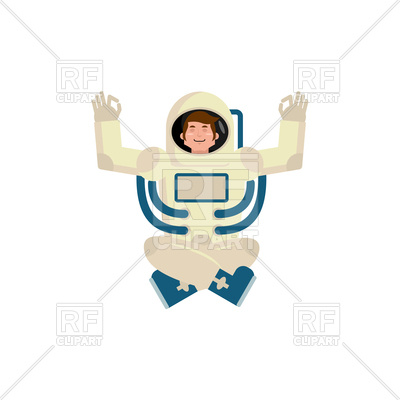 400x400 Astronaut Yogi. Space Yoga. Royalty Free Vector Clip Art Image