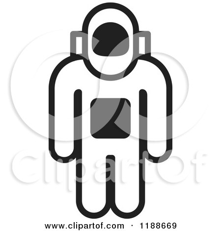 450x470 Clipart Of A Black And White Astronaut Icon