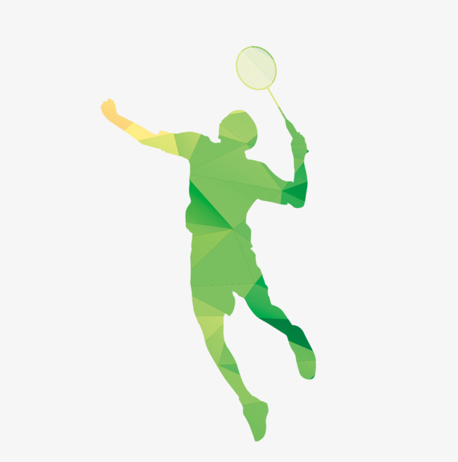 650x655 Green Silhouette Of Athletes, Play Badminton, Athlete, Silhouette