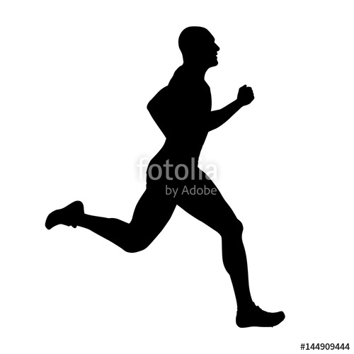 500x500 Runner Vector Silhouette, Side View. Sprinting Athlete Stock