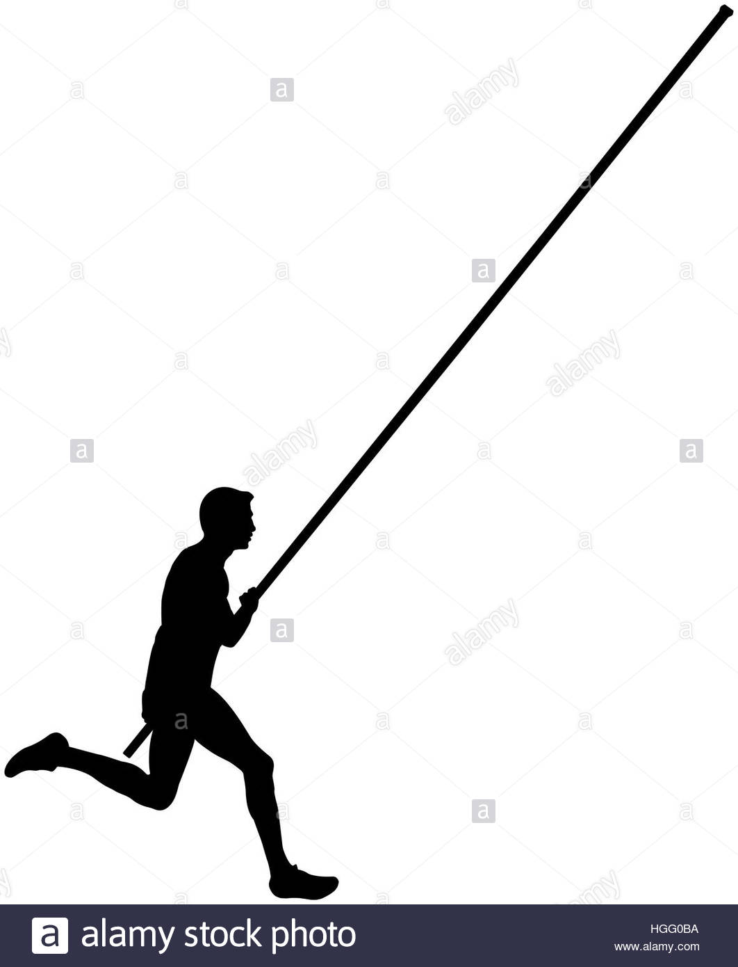 1062x1390 Black Silhouette Running Athlete Male Pole Vault Stock Photo