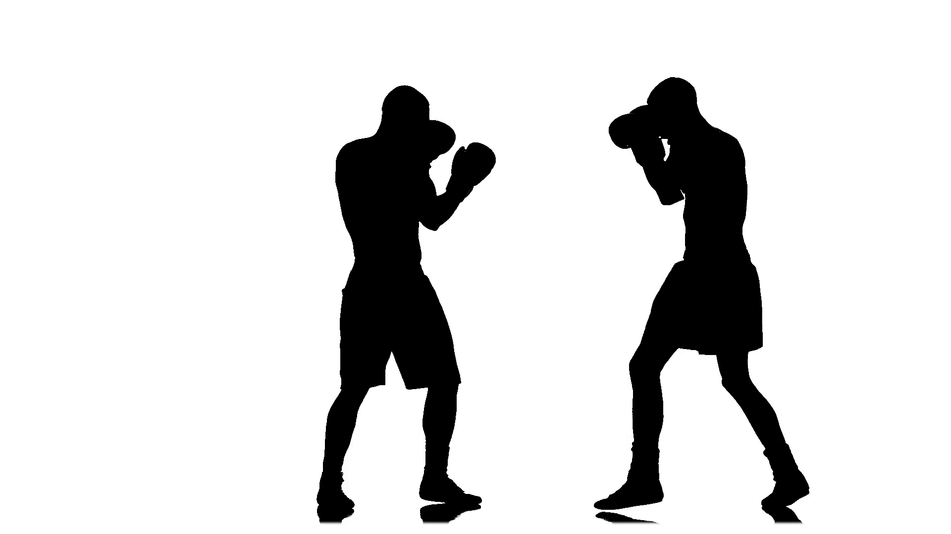 1920x1080 Athletes Boxers Sparring In The Studio. Silhouette In Slow Motion