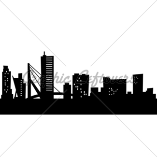325x325 City Skyline Silhouette Gl Stock Images
