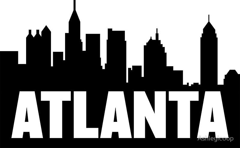 800x492 Atlanta, Georgia City Skyline Silhouette Stickers By Ashleylcoop