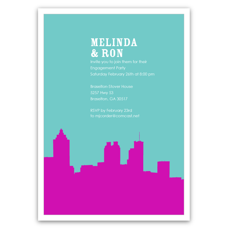748x748 Atlanta Skyline Silhouette Party Invitations Ian Amp Lola Design