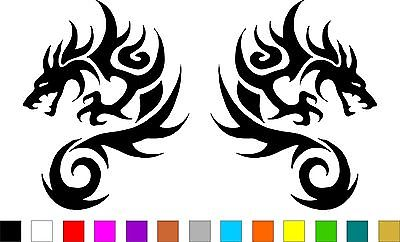 400x242 Tribal Dragon 2 Decal Stickers Right Left Direction Helmet Atv