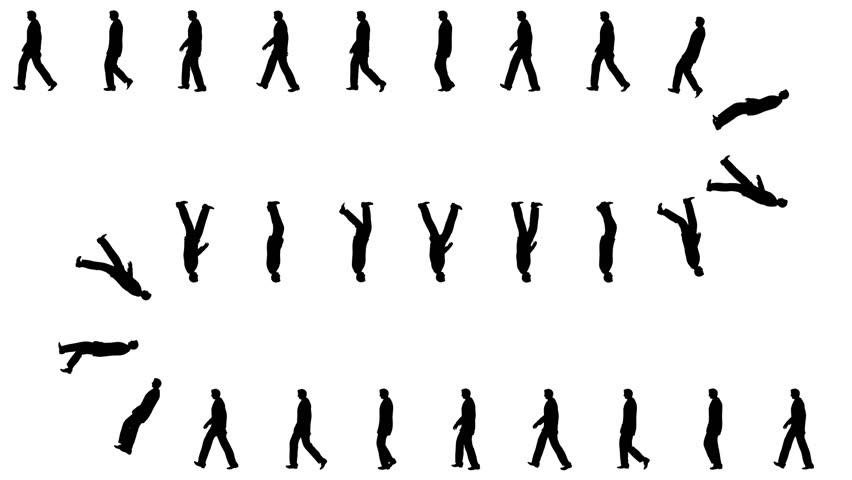 852x480 Crowd Silhouettes Walking, Seamless Loop Stock Footage Video