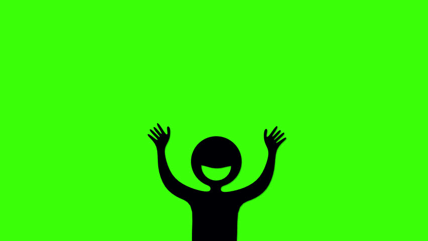 852x480 Loopable Cartoon Animation Of A Cheering Crowd. Silhouette Version