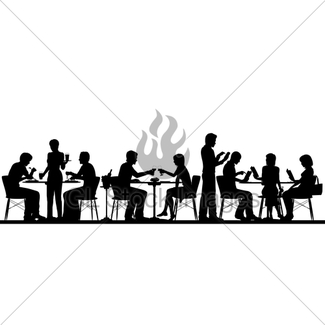 325x325 Busy Restaurant Silhouette Gl Stock Images