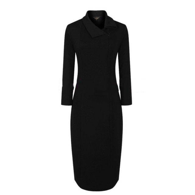 640x640 Js Black Cotton Audrey Hepburn Style High Collar Knee Pencil Dress