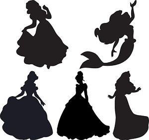 300x281 Window Wall Display Vinyl Sticker Princess Silhouette Decal Belle