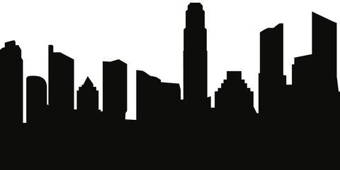 480x241 Austin, Texas Skyline Silhouette Cityscape Purses And Pillows