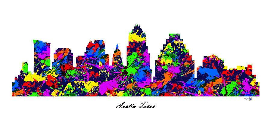 900x426 Austin Texas Paint Splatter Skyline Digital Art By Gregory Murray