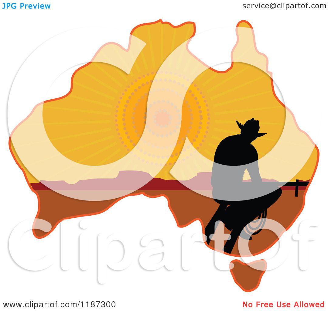 1080x1024 Cartoon Of A Silhouetted Australian Cowboy On A Sunset Aussie Map