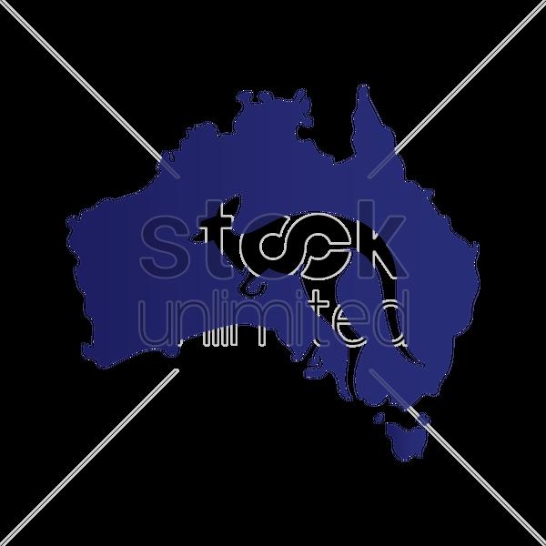 600x600 Kangaroo Silhouette On Australia Map Vector Image