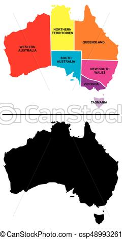 240x470 Australia Provinces And Silhouette Map On Isolated Clip Art