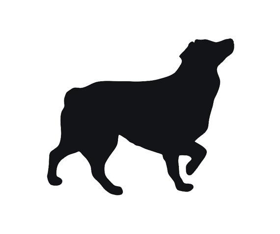 570x475 Australian Shepherd Dog Breed Silhouette Custom Die Cut Vinyl