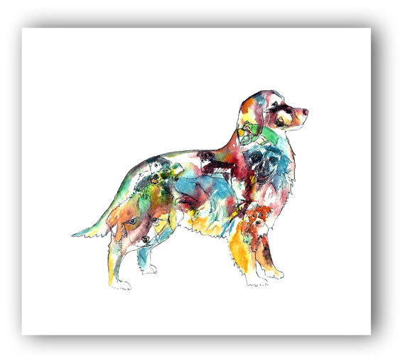 570x512 Australian Shepherd Art Shepherd Silhouette Watercolor Dog
