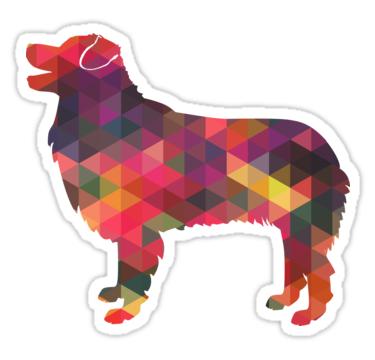 375x360 Australian Shepherd Dog Breed Geometric Silhouette Multi Stickers