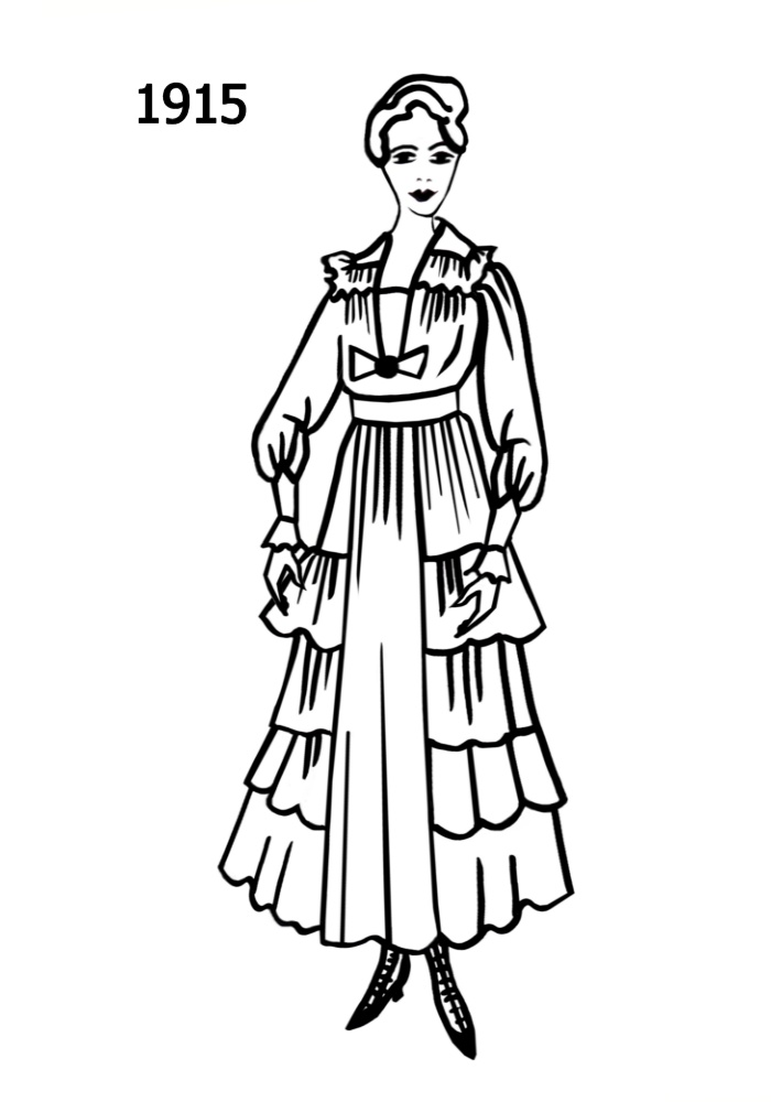 700x1000 Costume Silhouettes 1914 1915 Free Line Drawings