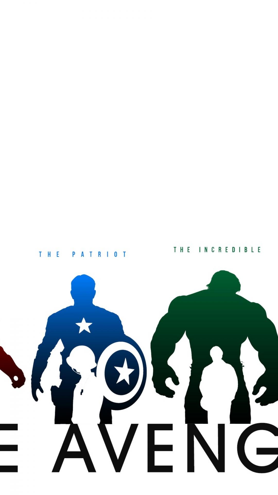 1080x1920 Silhouette Marvel Comics The Avengers White Background Wallpaper