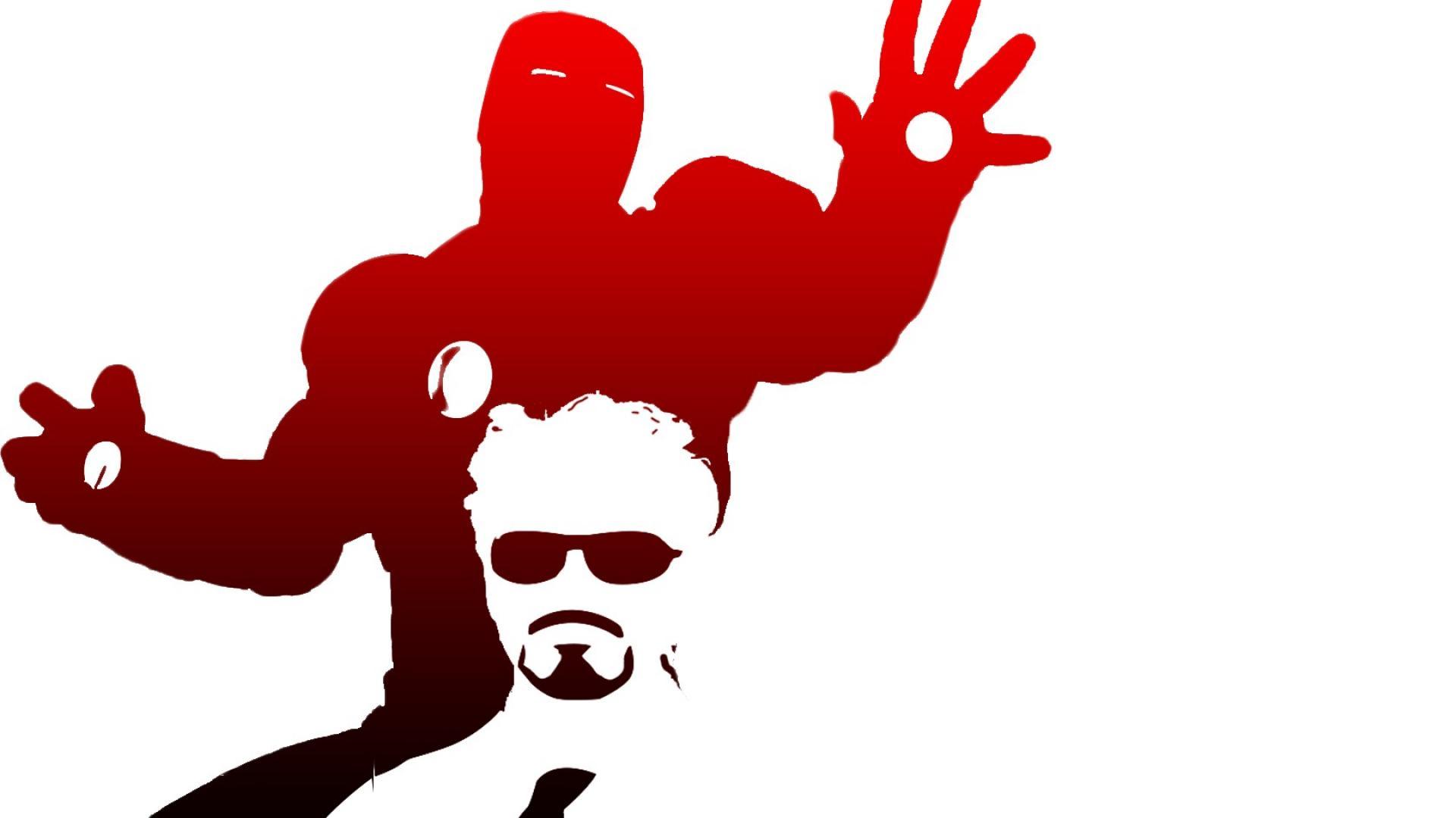 1920x1080 Silhouette Tony Stark The Avengers White Background Wallpaper