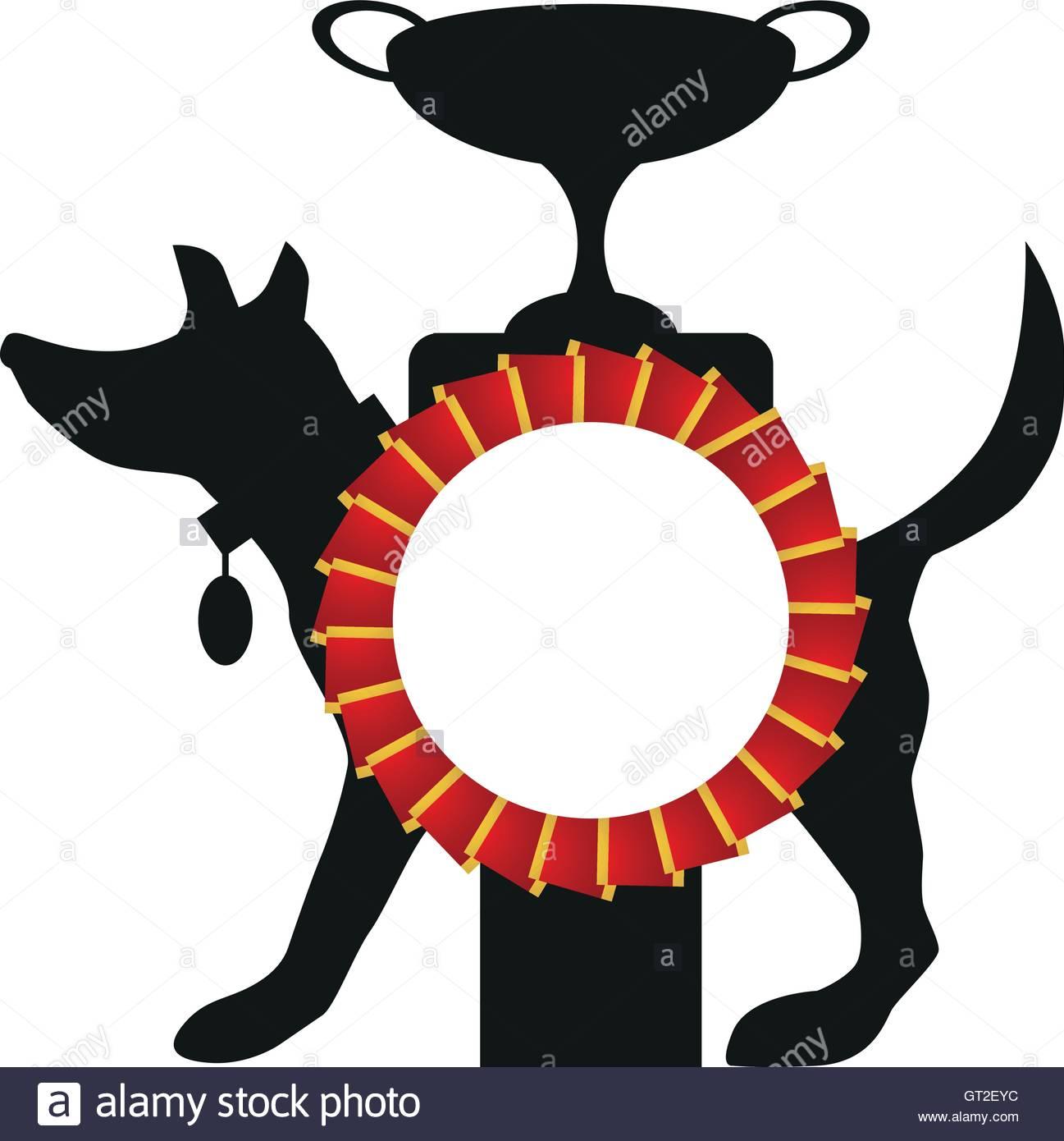 1297x1390 Dog Award Winner Rosette, Cup And Dog Silhouette Stock Vector Art