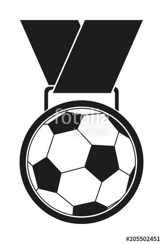 334x500 Black White Soccer Award Medal Silhouette. Stock Image