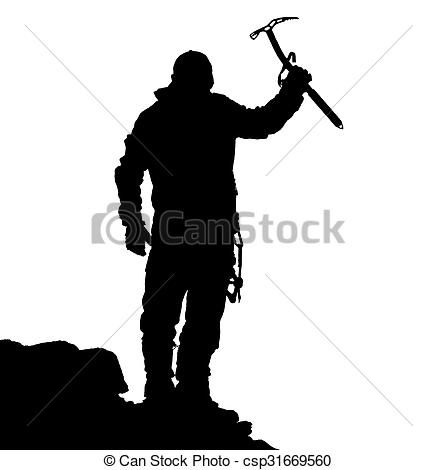 437x470 Black Silhouette Of Climber With Ice Axe In Hand On The Stock