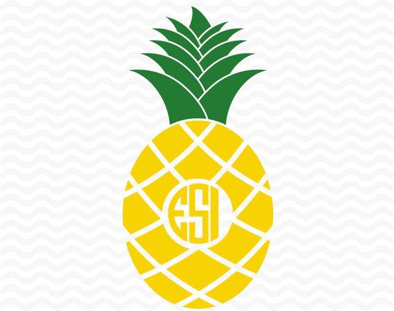 570x450 Pineapple Monogram Svg, Summer Svg, Fruit Svg, Beach Svg, Svg, Dxf