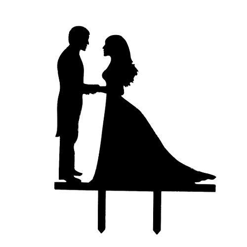 500x500 Black Sellify Acrylic Couple Silhouette Wedding Anniversary Cake