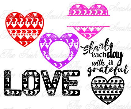 427x356 Aztec Tribal Heart Valentines Monogram For Silhouette Cameo