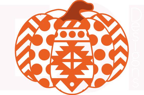 570x377 Pumpkin Svg, Dxf, Eps, Aztec, Polka Dot And Chevron Pattern,