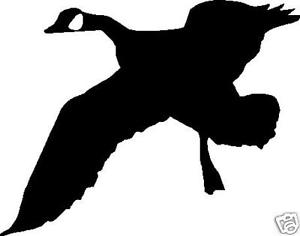 300x236 Goose Silhouette Hunting Flying Decal Sticker 6.5 X 5 White