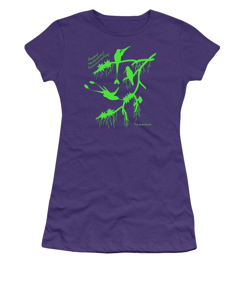 1000x1200 Green Booted Rackettail Hummingbird Silhouette Women's T Shirt