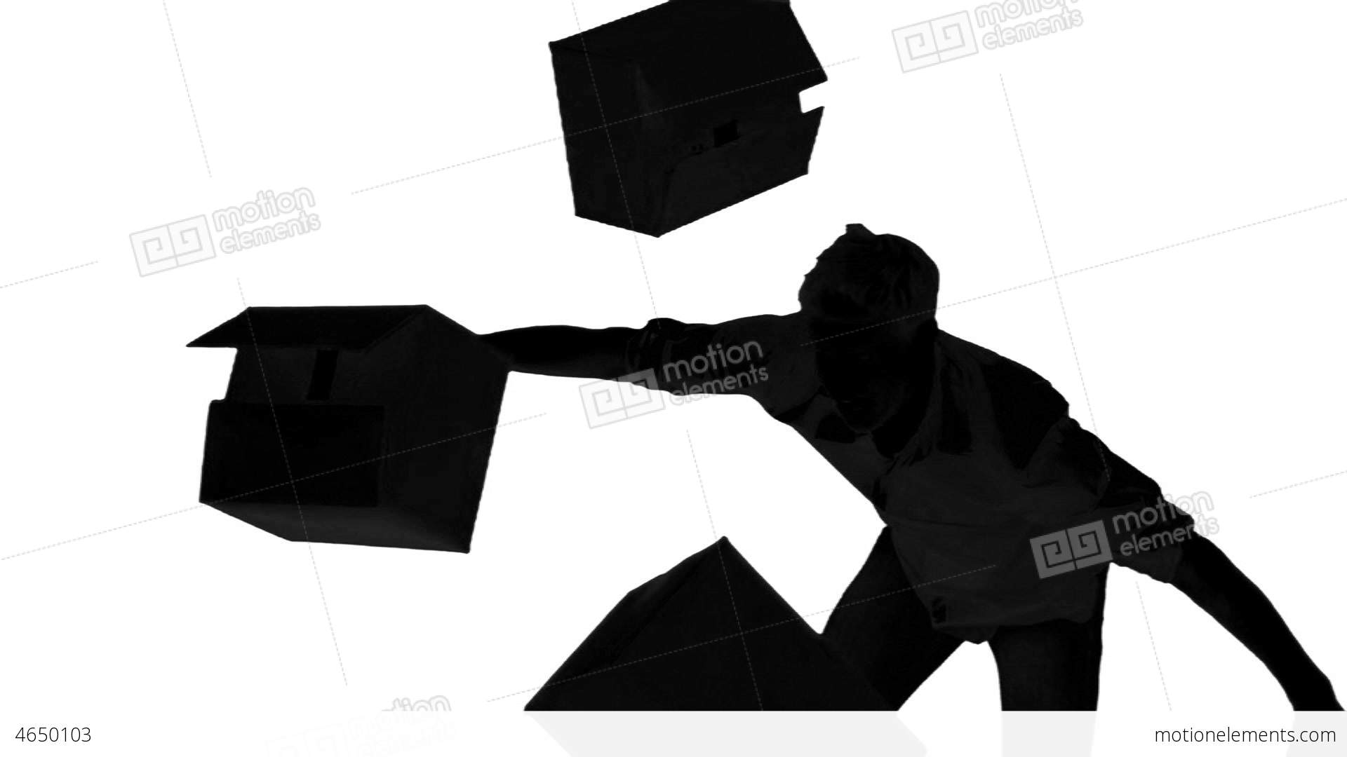 1920x1080 Silhouette Of Clumsy Man Dropping Boxes On White B Stock Video