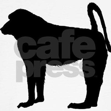 460x460 Baboon (Silhouette) Throw Pillow By Bluegreenred