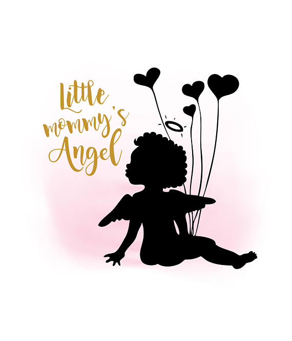 570x664 Little mommys Angel SVG clipart Little baby Quote Word
