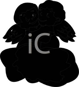 274x300 Silhouette of Two Baby Angels Hugging on a Cloud