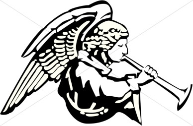 388x254 Flying Angel Silhouette Clipart