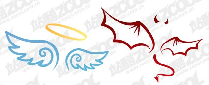 425x174 The Devil And Angel Wings Vector Material Vector Download