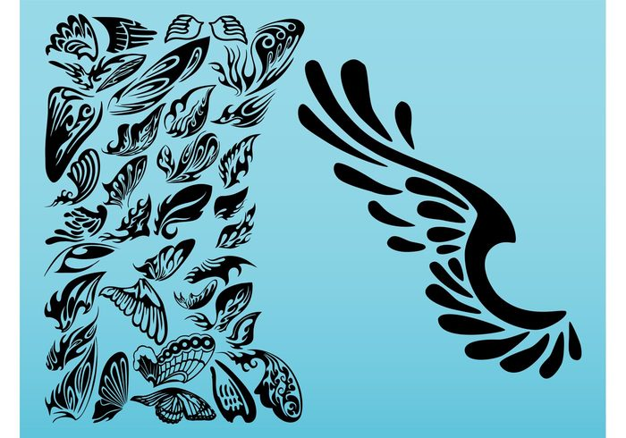 700x490 Curved Angel Wings Silhouette Clipart